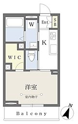 千葉寺マンション新築工事 2階1Kの間取り
