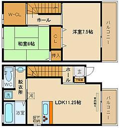 [テラスハウス] 大阪府八尾市久宝寺3丁目 の賃貸【/】の間取り