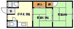 兵庫県神戸市東灘区住吉南町4丁目の賃貸アパートの間取り