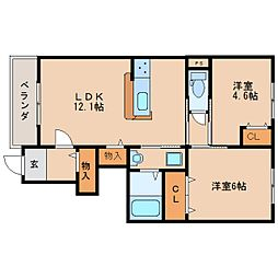 近鉄大阪線 大福駅 徒歩8分の賃貸アパート 1階2LDKの間取り