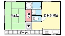 兵庫県神戸市灘区鹿ノ下通3丁目の賃貸アパートの間取り
