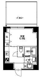 都営新宿線 曙橋駅 徒歩5分の賃貸マンション 6階1Kの間取り