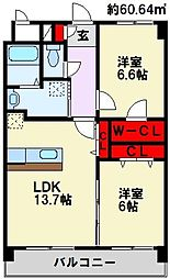 福岡県北九州市八幡西区瀬板2丁目の賃貸マンションの間取り