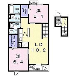 エアリスII[4階]の間取り