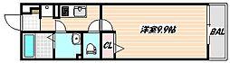 京成本線 東中山駅 徒歩5分の賃貸マンション 1階1Kの間取り