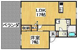 大阪府大阪狭山市池尻北2丁目の賃貸アパートの間取り