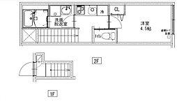 JR中央本線 西荻窪駅 徒歩8分の賃貸アパート 2階1Kの間取り