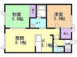 マンションSEEDIII 1階2LDKの間取り