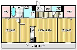 滋賀県守山市阿村町の賃貸アパートの間取り