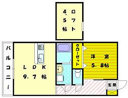 ベアフット天神[2階]の間取り