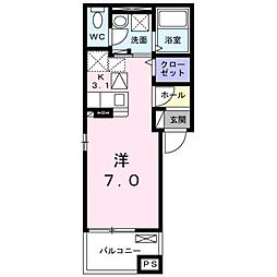 JR山陽本線 五日市駅 徒歩17分の賃貸アパート 2階1Kの間取り