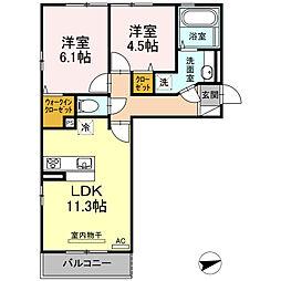 (仮)D-room厚南中央1丁目[203号室]の間取り