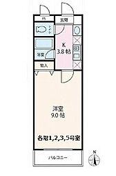 東京都大田区西六郷2丁目の賃貸マンションの間取り