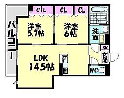 南海線 高石駅 徒歩14分の賃貸アパート 3階2LDKの間取り
