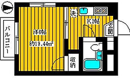 東京都江東区毛利2丁目の賃貸マンションの間取り