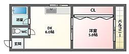 リヴェール千扇駒川[3階]の間取り