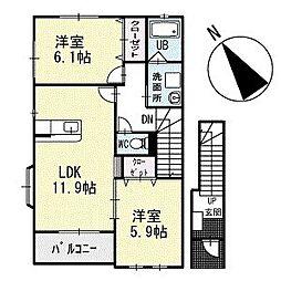 WEST HILLS 2階[203号室]の間取り