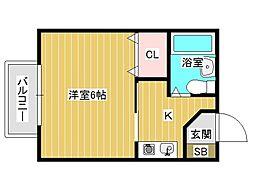 兵庫県神戸市垂水区馬場通の賃貸アパートの間取り