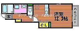 JR赤穂線 大多羅駅 3.4kmの賃貸アパート 1階1Kの間取り