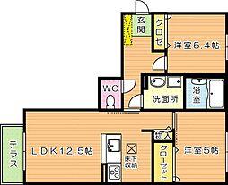 福岡県北九州市八幡西区則松東1丁目の賃貸アパートの間取り