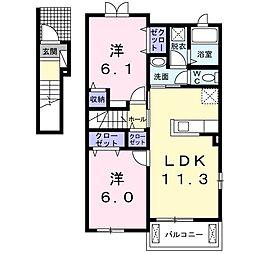 岡山県岡山市東区可知4丁目の賃貸アパートの間取り