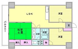 福岡県福岡市西区福重3丁目の賃貸マンションの間取り