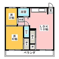ビレッジハウス東野[4階]の間取り