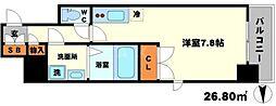 BPRレジデンス江坂 8階ワンルームの間取り