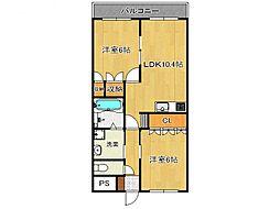 奈良県五條市二見5の賃貸アパートの間取り