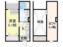 南海高野線 堺東駅 徒歩18分の賃貸アパート 1階1Kの間取り