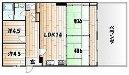 福岡県北九州市若松区宮丸2丁目の賃貸マンションの間取り