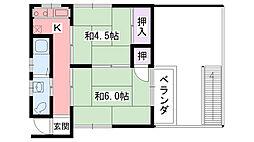 兵庫県西宮市上甲子園1丁目の賃貸アパートの間取り