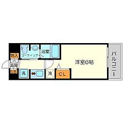 エステムコート新大阪11リンクス 9階1Kの間取り