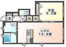 シャーメゾン福島 A[1階]の間取り