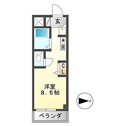 シャトー岐大 B[3階]の間取り