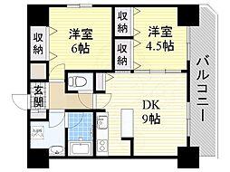 南海高野線 堺東駅 徒歩4分の賃貸マンション 9階2DKの間取り