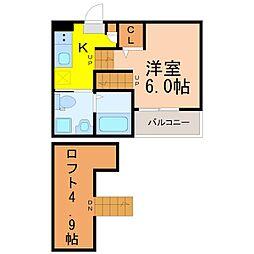 愛知県名古屋市中村区豊国通4丁目の賃貸アパートの間取り