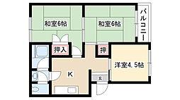 愛知県名古屋市南区氷室町の賃貸マンションの間取り