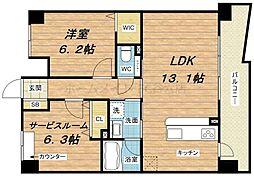 クラヴィエ西梅田[2階]の間取り