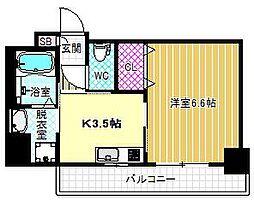 アミル9 4階1DKの間取り
