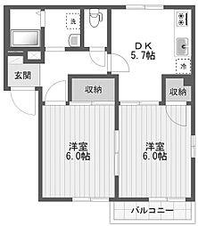 東京都八王子市並木町の賃貸アパートの間取り