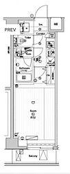 ルミードキューブ菊川プレミアム 8階1Kの間取り