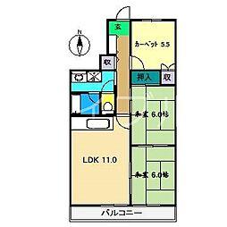 プロスパリティ扇[4階]の間取り
