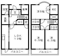 コーポ上島台[N‐2号室]の間取り