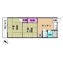 ミソノ荘[203号室]の間取り