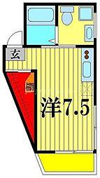 JR常磐線 亀有駅 徒歩9分の賃貸マンション 4階ワンルームの間取り