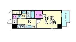 JR大阪環状線 天満駅 徒歩8分の賃貸マンション 2階1Kの間取り