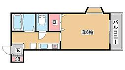 兵庫県神戸市兵庫区馬場町の賃貸アパートの間取り
