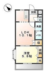 エスポアハイム弐番館[2階]の間取り