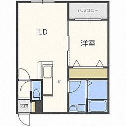 札幌市営南北線 麻生駅 徒歩6分の賃貸マンション 5階1LDKの間取り